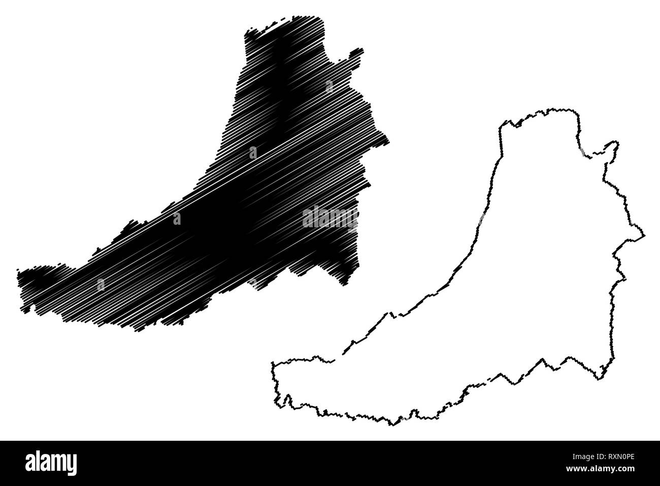 Ceredigion (United Kingdom, Wales, Cymru, Principal areas of Wales) map vector illustration, scribble sketch Cardiganshire map - Stock Image