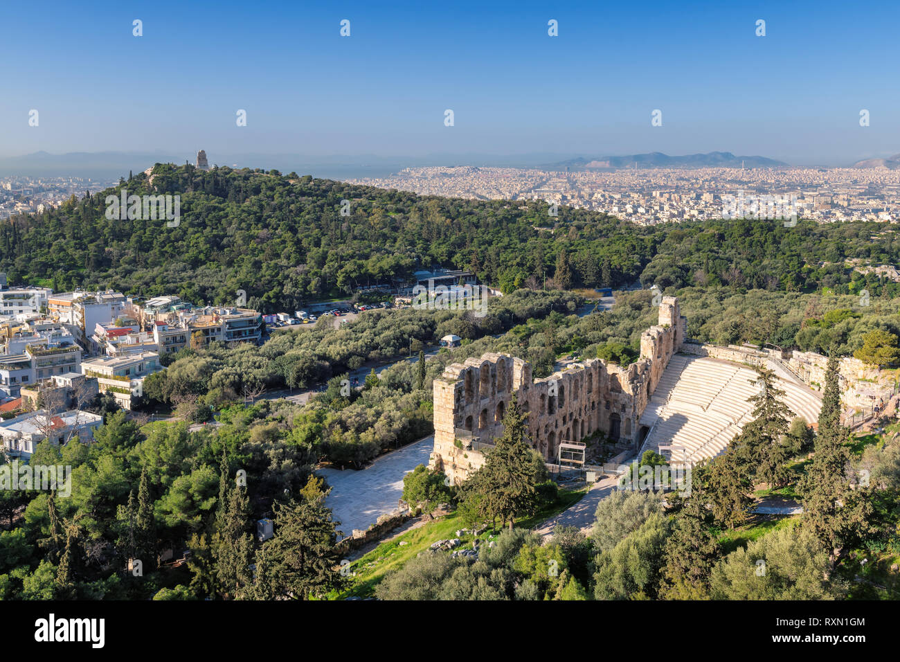 Odeon of Herodes Atticus on Acropolis hill in Athens, Greece - Stock Image