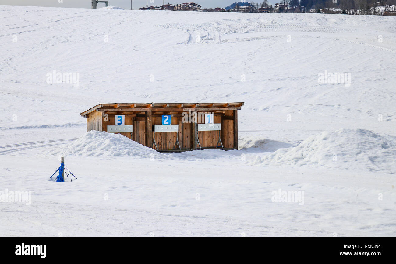 biathlon shooting training in snow winter sport - Stock Image