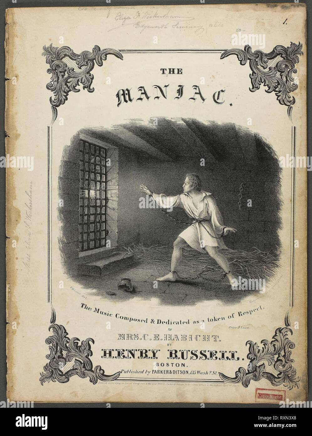 The Maniac. Fitz Hugh Lane; American, 1804-1865. Date: 1879-1880. Dimensions: 336 x 255 mm. Lithograph on cream wove paper, folded. Origin: United States. Museum: The Chicago Art Institute. Author: FITZ HENRY LANE. - Stock Image
