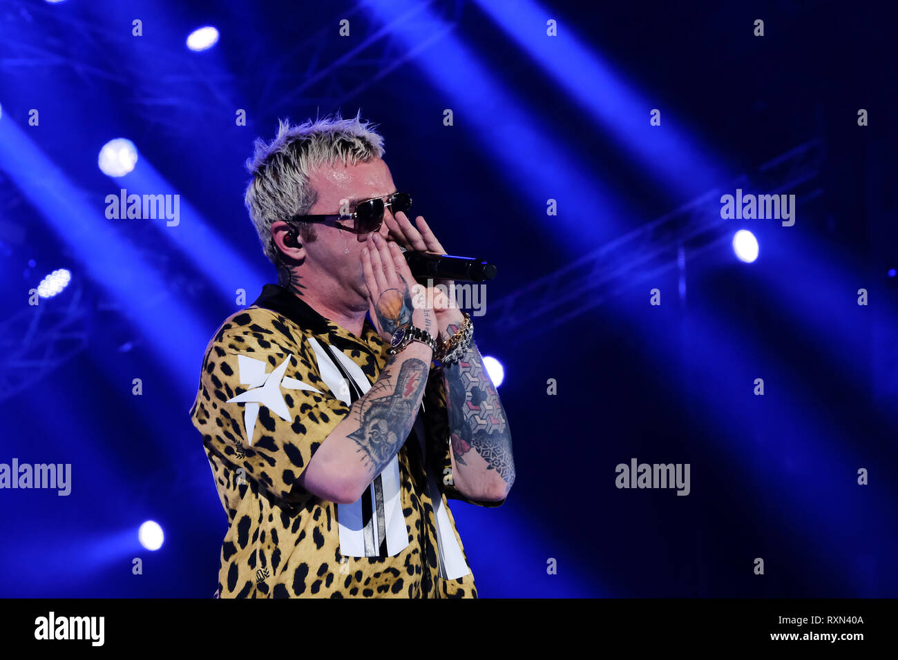 """Turin, Italy. 09th Mar, 2019. The Italian rapper Maurizio Pisciottu known as Salmo, on the stage of the Pala Alpitour during his concert tour """"Play List"""". Credit: Bruno Brizzi/Pacific Press/Alamy Live News Stock Photo"""