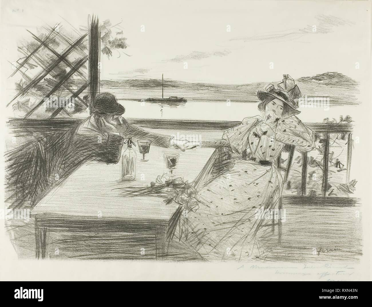 The Arbor. Jean Louis Forain; French, 1852-1931. Date: 1893. Dimensions: 288 × 413 mm. Lithograph on ivory wove paper. Origin: France. Museum: The Chicago Art Institute. - Stock Image