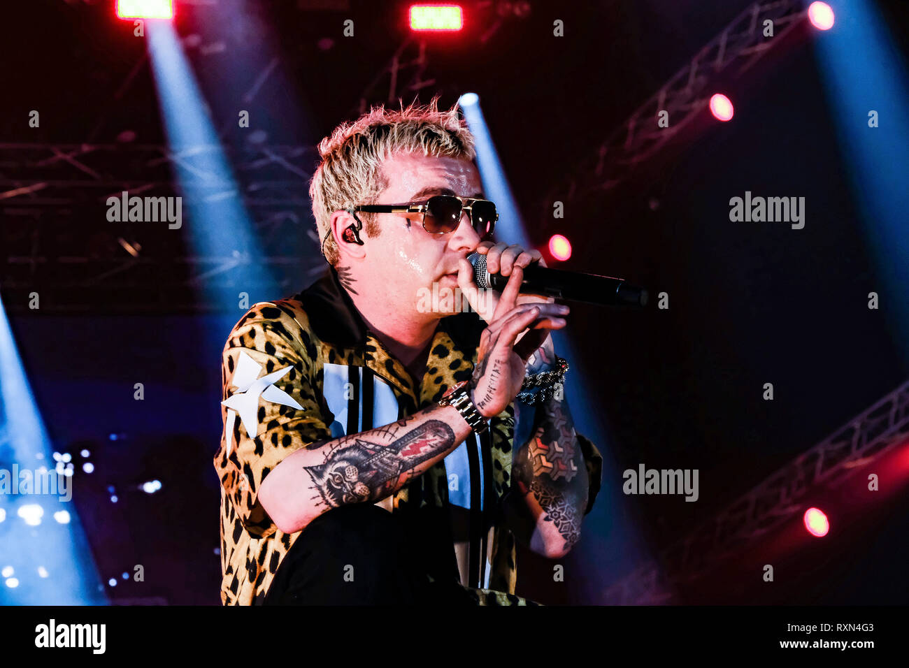 "Turin, Italy. 09th Mar, 2019. The Italian rapper Maurizio Pisciottu known as Salmo, on the stage of the Pala Alpitour during his concert tour ""Play List"". Credit: Bruno Brizzi/Pacific Press/Alamy Live News Stock Photo"