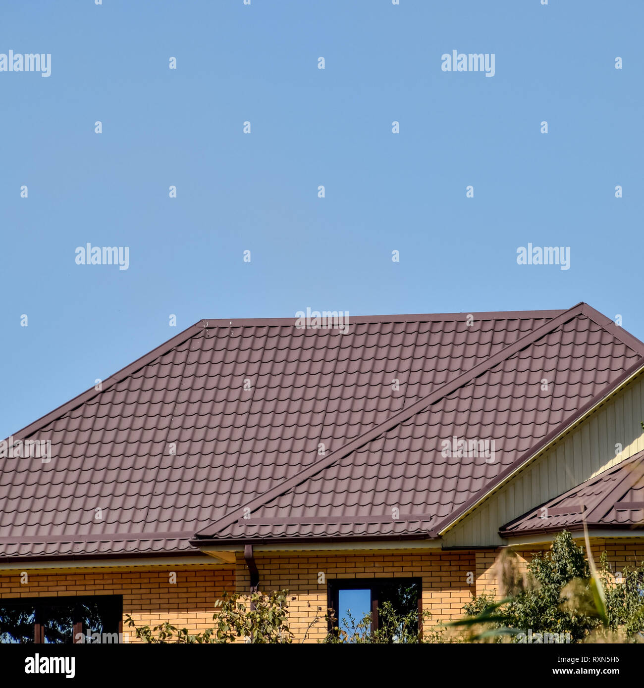 Roof Metal Sheets Modern Types Of Roofing Materials Stock Photo Alamy