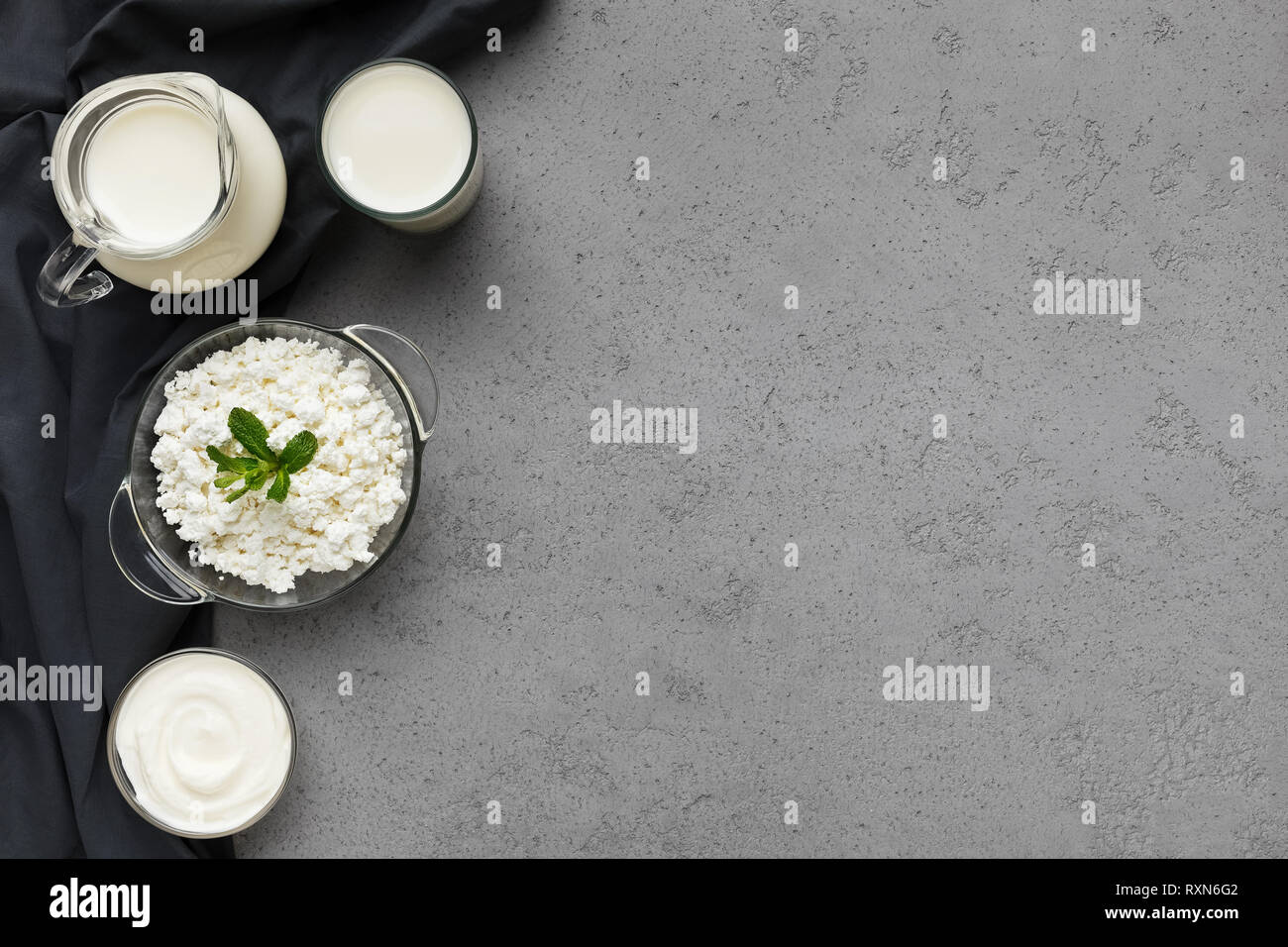 Dairy products set, top view, copy space - Stock Image