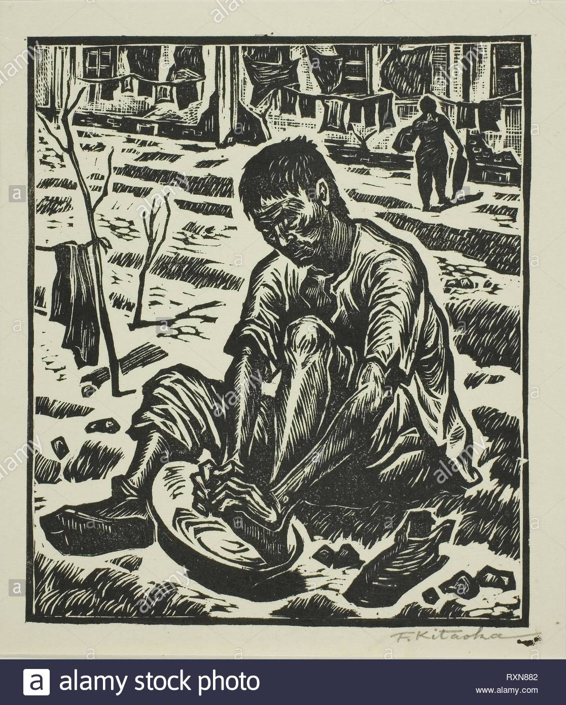 Washing Feet (Ashi o arau), from the series 'Journey to the Homeland (Sokoku e no tabi)'. Kitaoka Fumio; Japanese, 1918-2007. Date: 1947. Dimensions: 19.7 x 17.1 cm (7 3/4 x 6 11/16 in.). Woodblock print. Origin: Japan. Museum: The Chicago Art Institute. - Stock Image