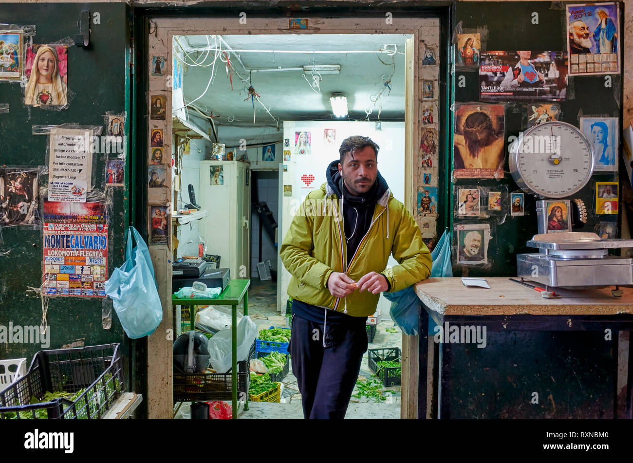 Naples Campania Italy. The greengrocer at Quartieri Spagnoli(Spanish Quarters), a part of the city ofNaplesinItaly. It is a poor area, suffering f - Stock Image