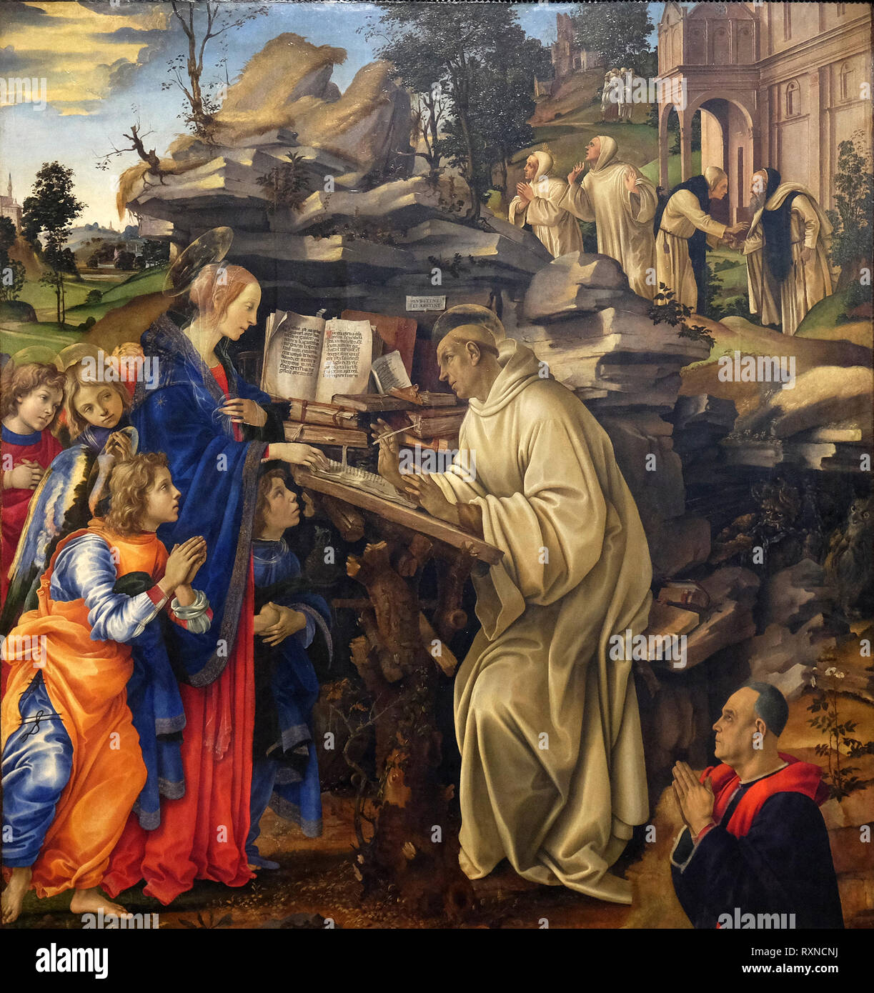 Apparition of the Virgin to Saint Bernard of Clairvaux by Filippino Lippi, Badia Fiorentina church in Florence, Italy Stock Photo