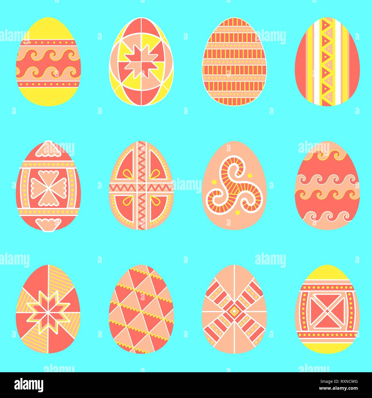 Seamless pattern of easter eggs with folk naive ornament - Stock Vector