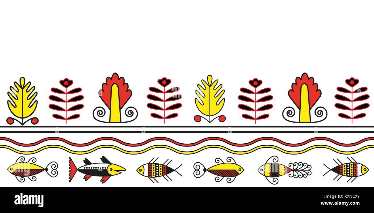 Seamless pattern of pjant and fish folk naive ornament - Stock Vector