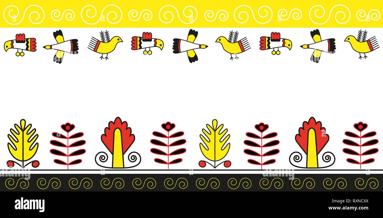 Seamless pattern of plant and bird folk naive ornament - Stock Vector
