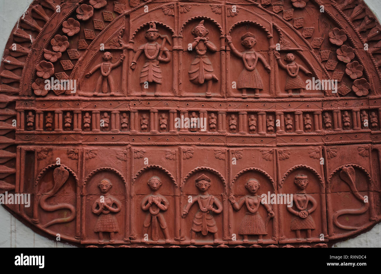 Terracotta inspired by tribal art ( India) - Stock Image