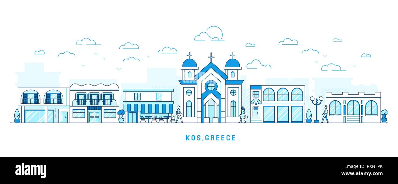 Line art style Kos Greece island, Kefalos cityscape, town street with houses and church, shops and cafe, trees and clouds, walking people, vector - Stock Vector