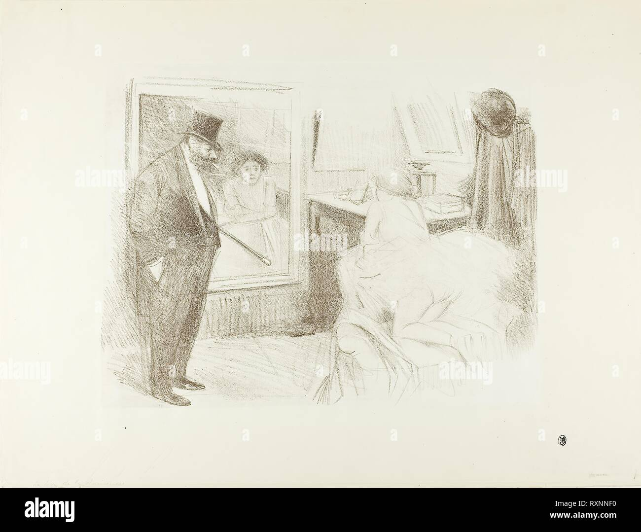 Dancer's Dressing Room, Second Plate. Jean Louis Forain; French, 1852-1931. Date: 1894. Dimensions: 280 × 353 mm (image); 395 × 526 mm (sheet). Lithograph in brown on white vellum paper. Origin: France. Museum: The Chicago Art Institute. - Stock Image