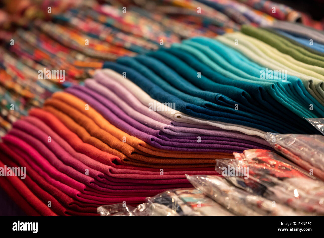 Various Different Colors Silk Fabric Cloth Stock Photo Alamy