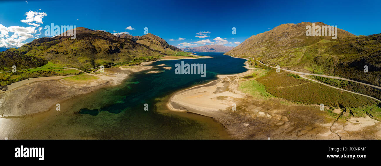 Panoramic drone aerial photos of Lake Hawea and mountains, South Island, New Zealand - Stock Image