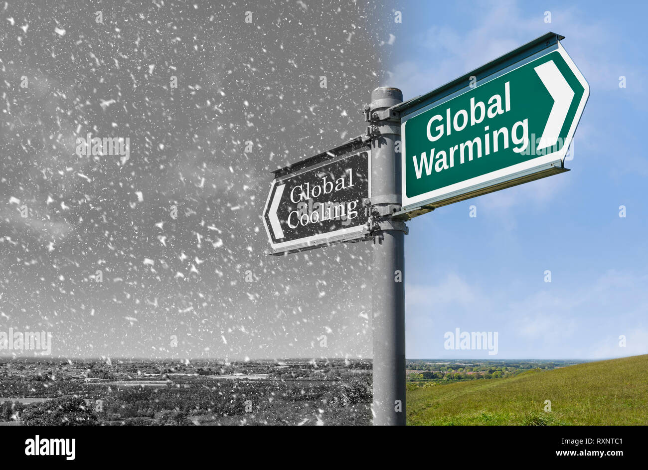Global warming vs Global Cooling concept sign, showing warmer and cooler weather during a time of climate change. - Stock Image