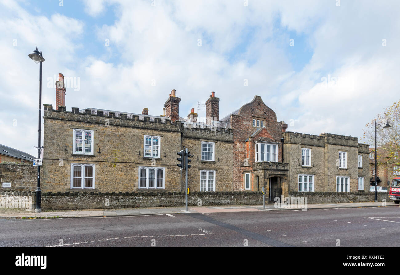 Capron House, an old Grammar School building in North Street, Midhurst, West Sussex, England, UK. - Stock Image