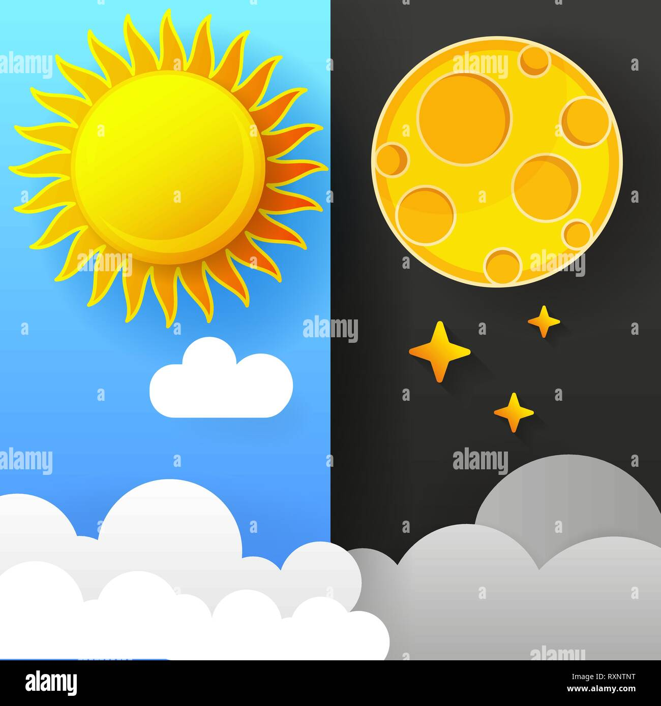 Vector Illustration Of Day And Night. Day Night Concept, Sun And Moon - Stock Vector