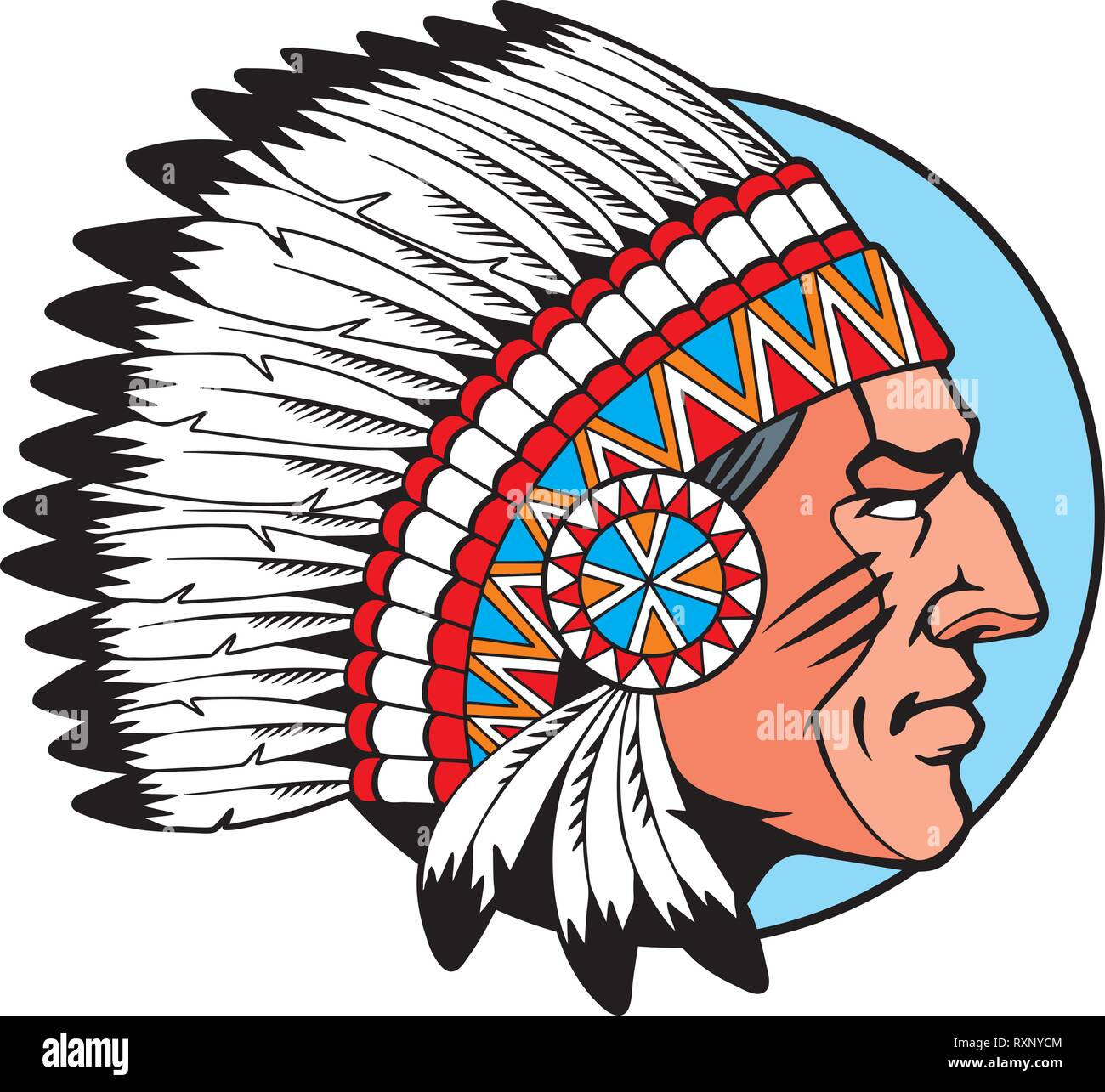 American Indian Chief head profile. Comic style vector illustration. - Stock Image