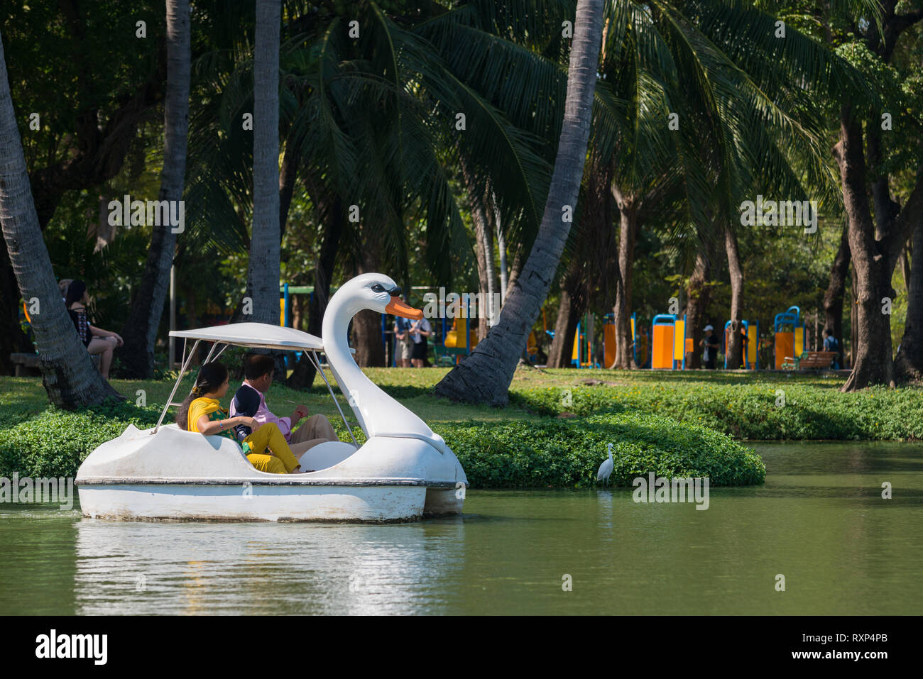 Tourists in swan pedal boat in Bangkok Lumpini park, Thailand Stock Photo