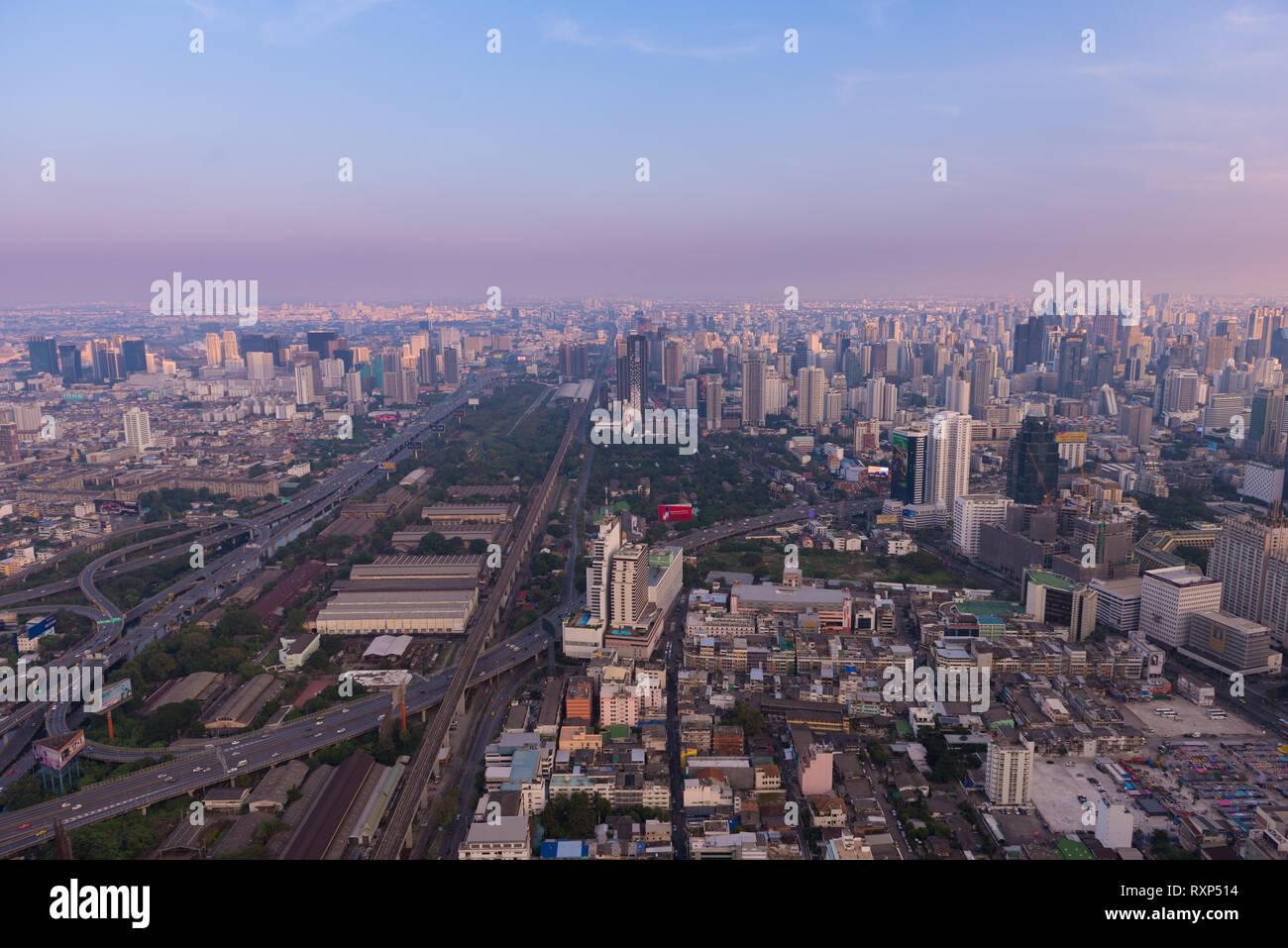 Bangkok Downtown aerial view near the Baiyoke Tower at dusk Stock Photo