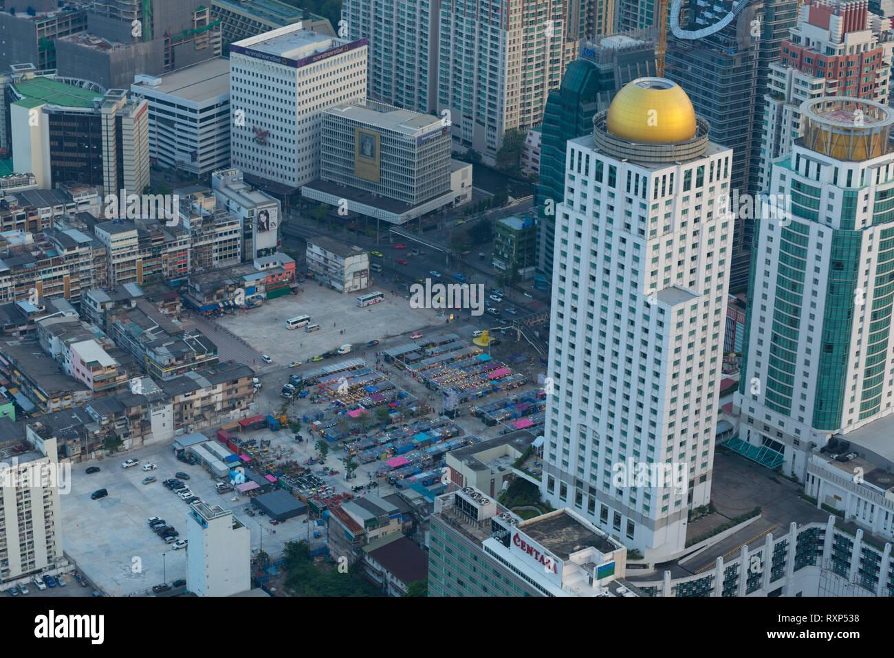 Neon market aerial view in Bangkok from the Baiyoke tower skyscraper Stock Photo