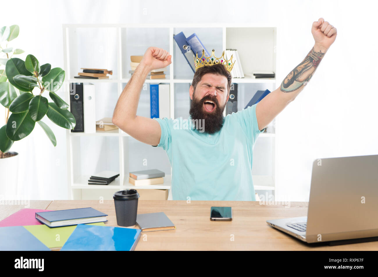 conceited happy winner. confident smiling man. Positive human emotion. facial expression of bearded man hipster. feeling and reaction. greedy businessman. altruist sacrifices himself. social problems. - Stock Image