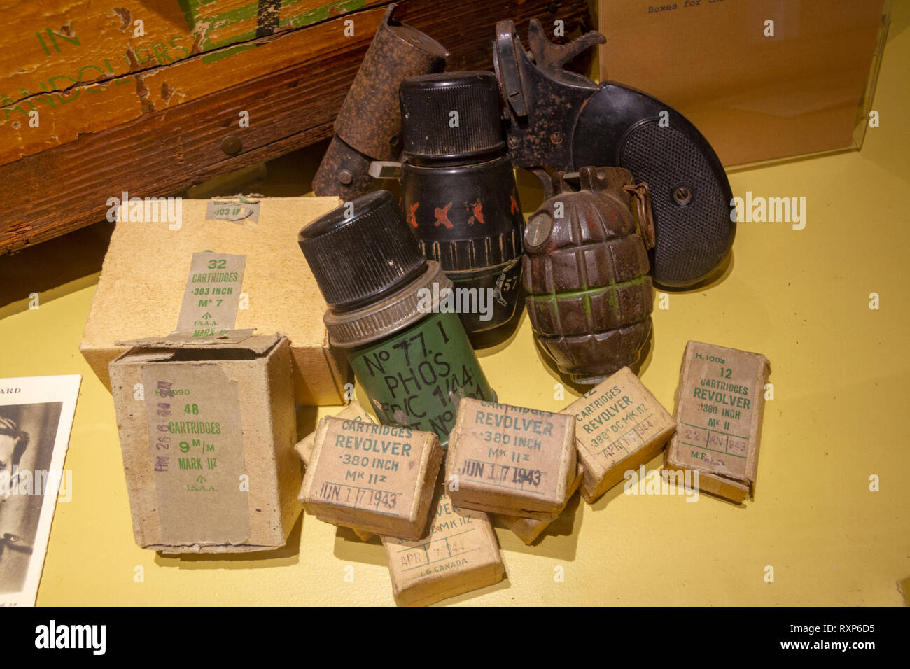 Allied ammunition, hand grenades and gun cartridges on display at the German Battery at Merville, Normandy, France. - Stock Image