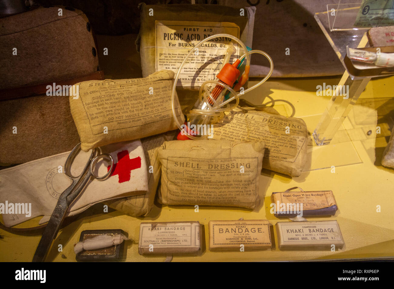 British Army WWII medical equipment on display at the German Battery at Merville, Normandy, France. - Stock Image