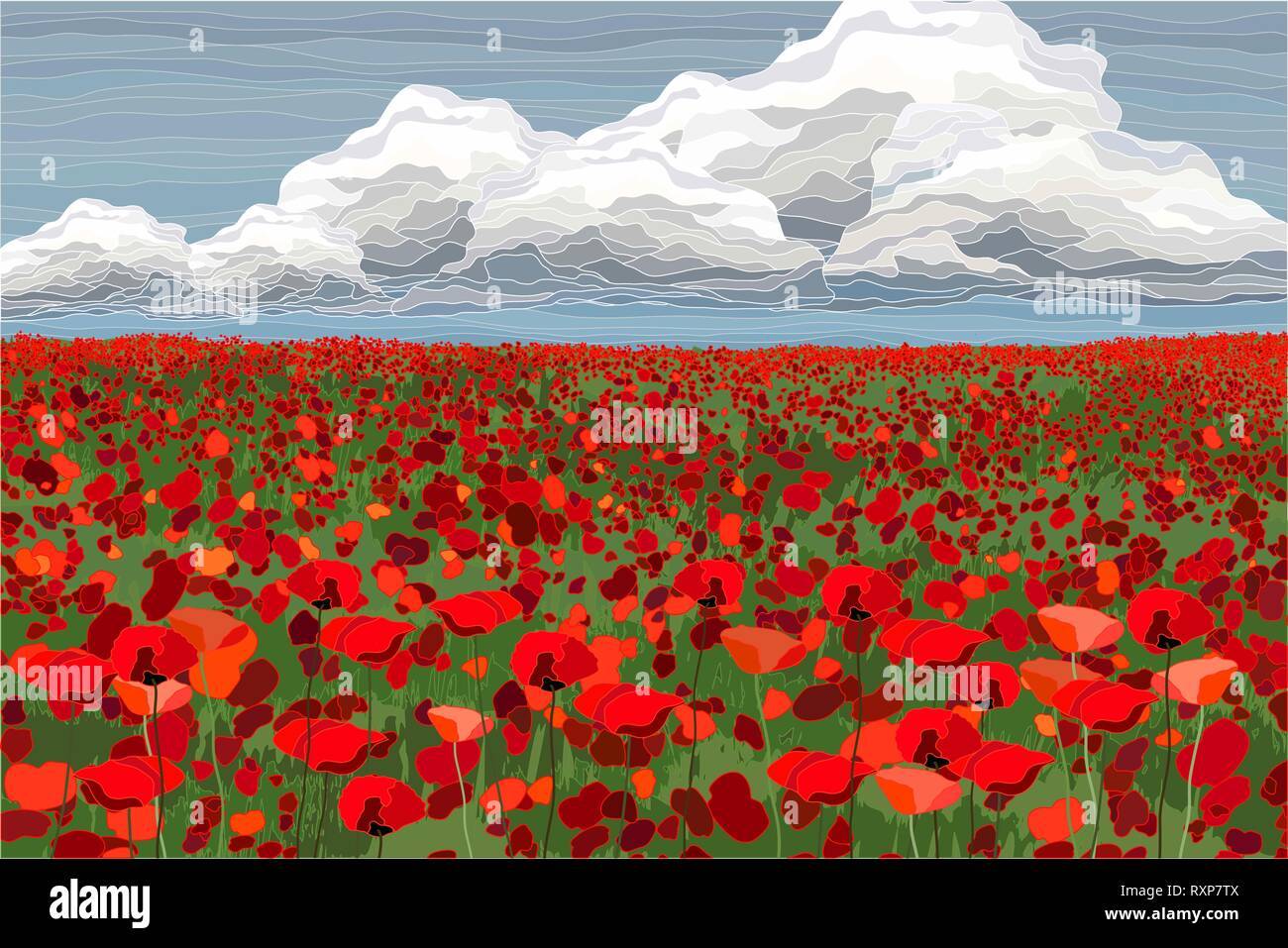 Bright poppy field with clouds and blue sky vector illustration - Stock Vector