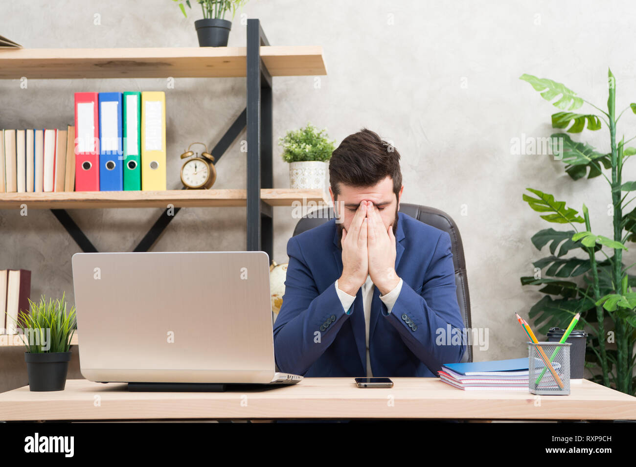 Desperate situation. Man bearded boss sit office with laptop. Manager solving business problems. Businessman in charge of successful business solutions. Developing business strategy. Risky business. - Stock Image