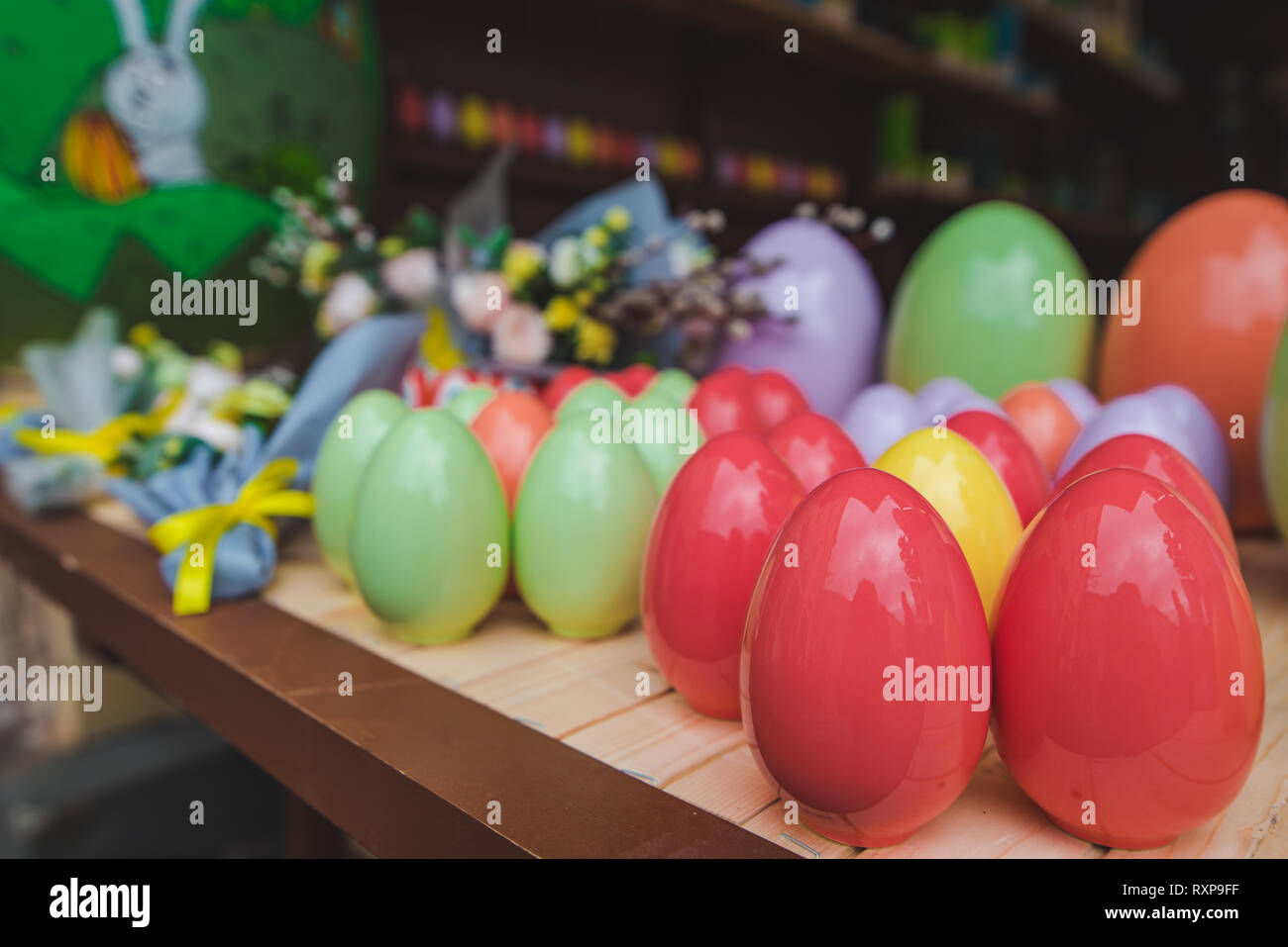 colored easter eggs close up. christian holidays - Stock Image