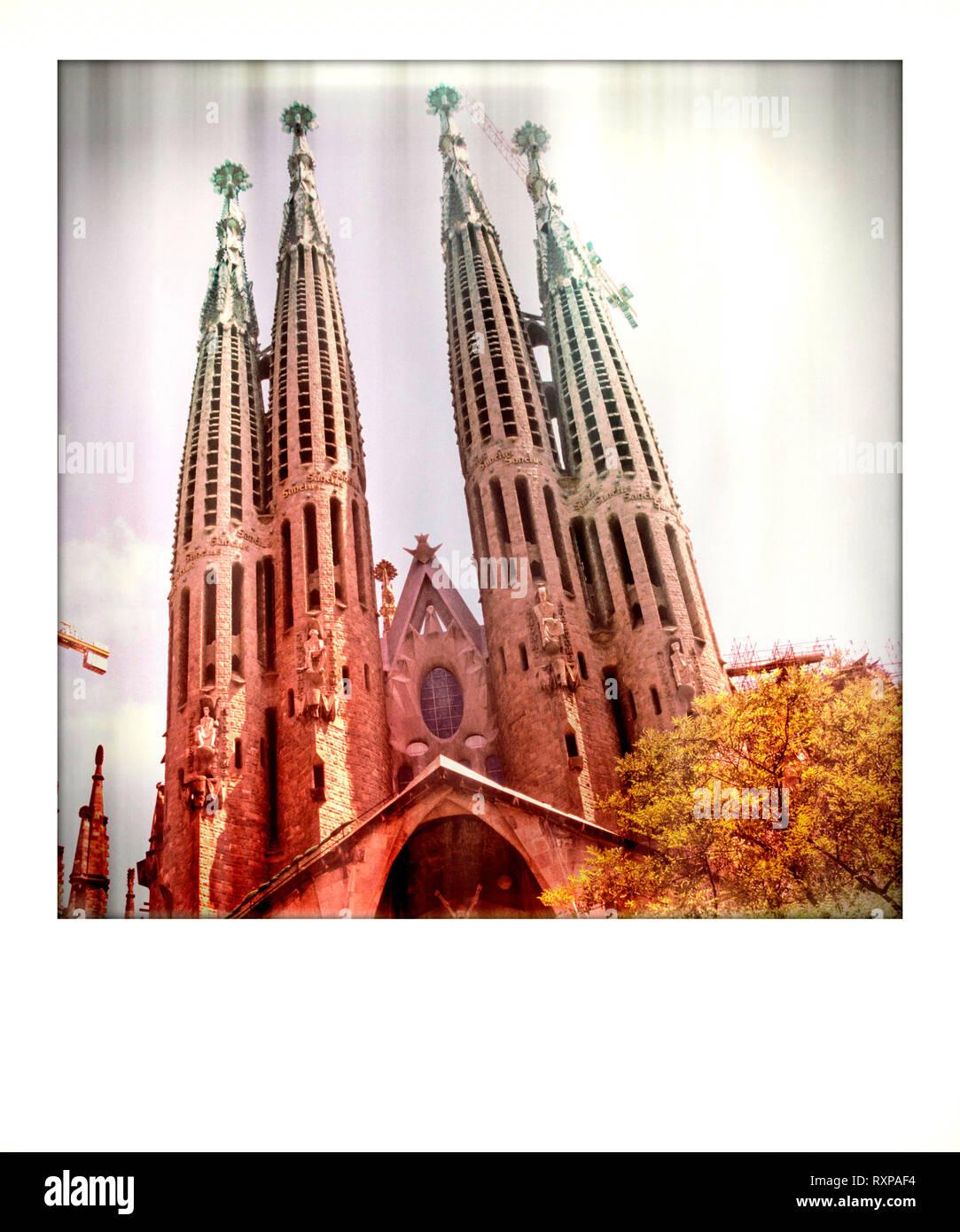 Polaroid effect, Sagrada Familia church, Barcelona, Spain - Stock Image