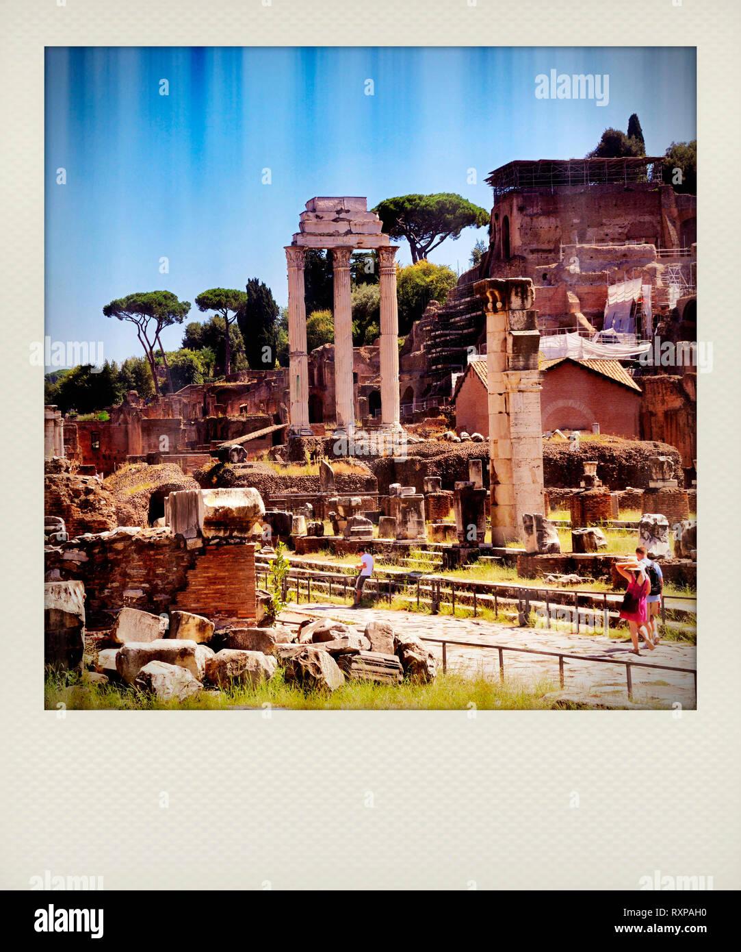 Polaroid effect, Ancient Rome , Via Sacra, Roman Forum, Rome, Italy, Europe - Stock Image