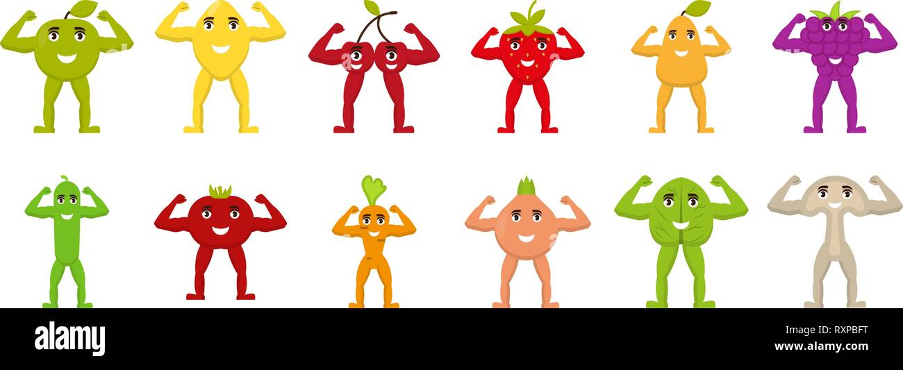 Fruits and vegetables with arms and legs, flat characters, show hand biceps, healthy food, vector illustration - Stock Vector