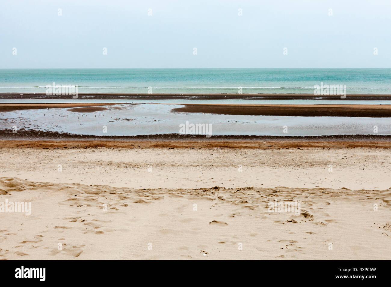 Oostduinkerke, Belgium - February 14  2018 - Seascape Stock Photo