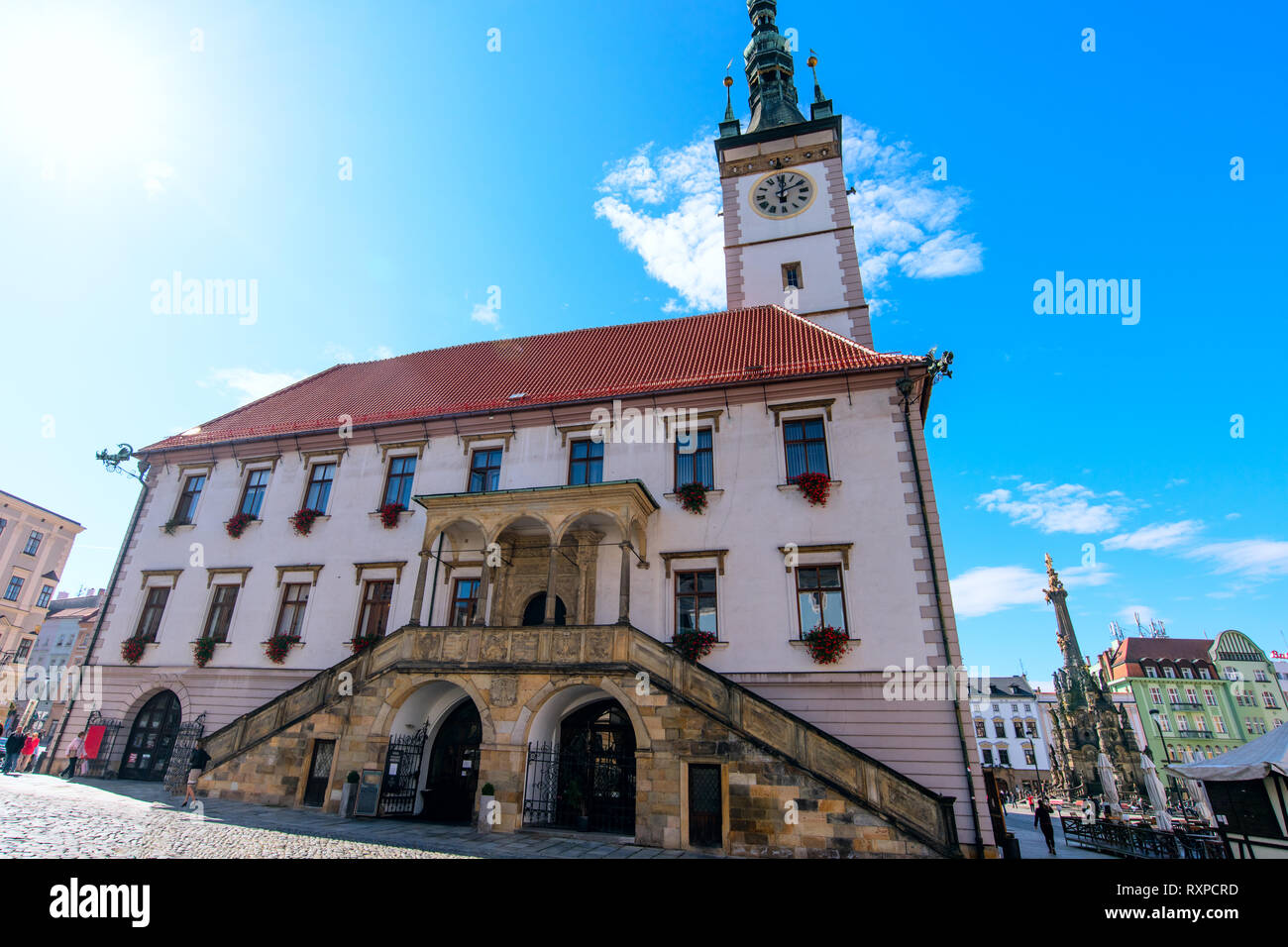 Town Hall and astronomical clock of Olomouc, Czech Republic - Stock Image