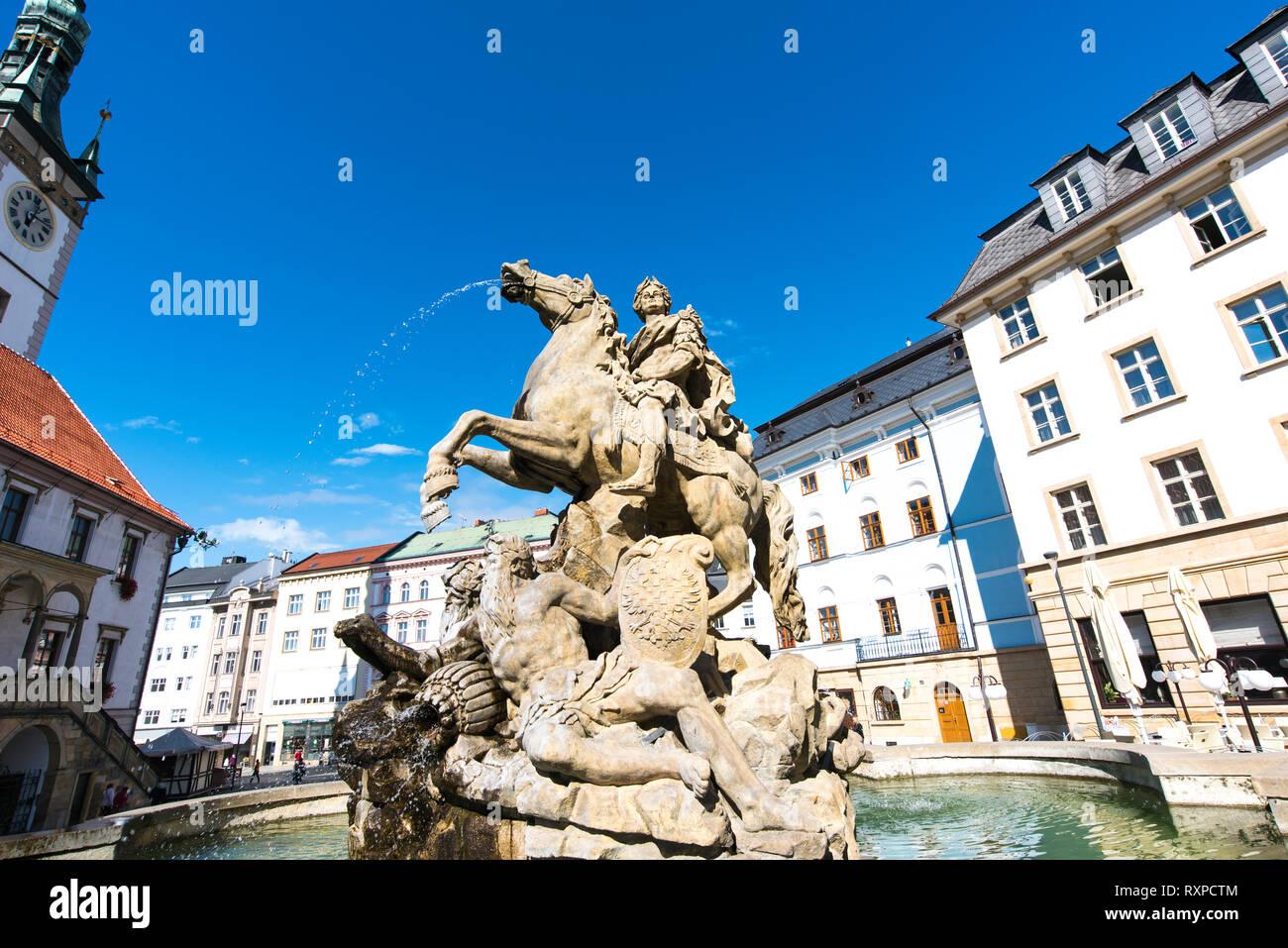 Caesar fountain against the blue sky in Olomouc. Czech Republic - Stock Image