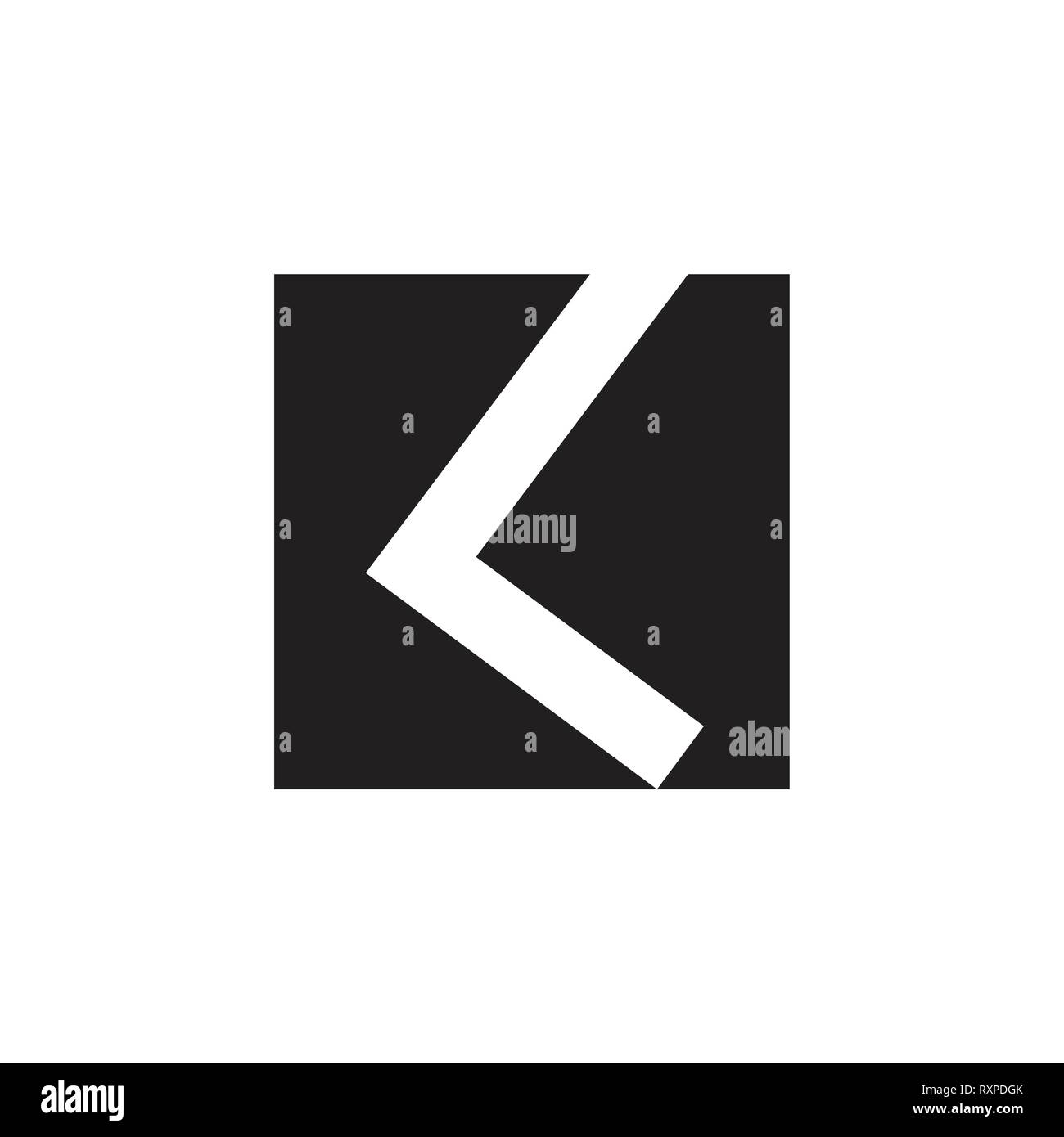 abstract letter kl simple square geometric logo - Stock Vector