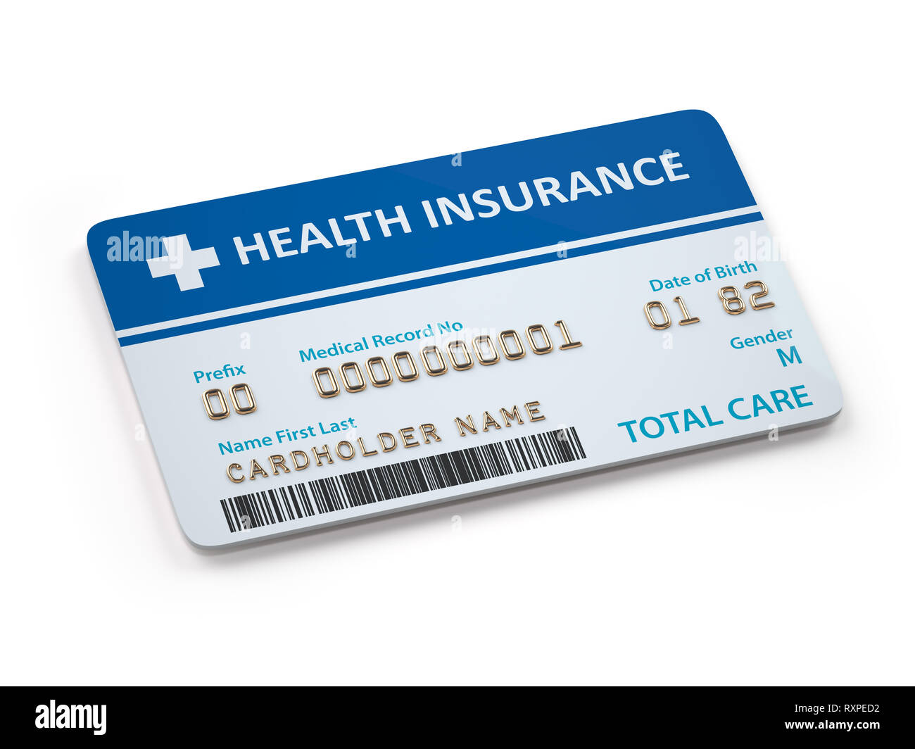 Health Insurance cards total and dental care  Isolated on white background. 3d illustration - Stock Image