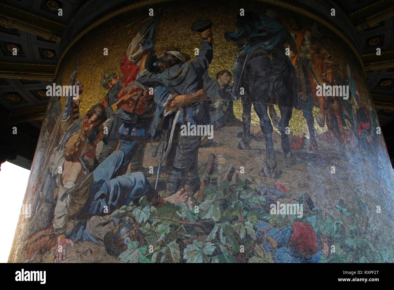 Artwork depicting Danish-Prussian War on rotunda of victory column in Berlin - Stock Image