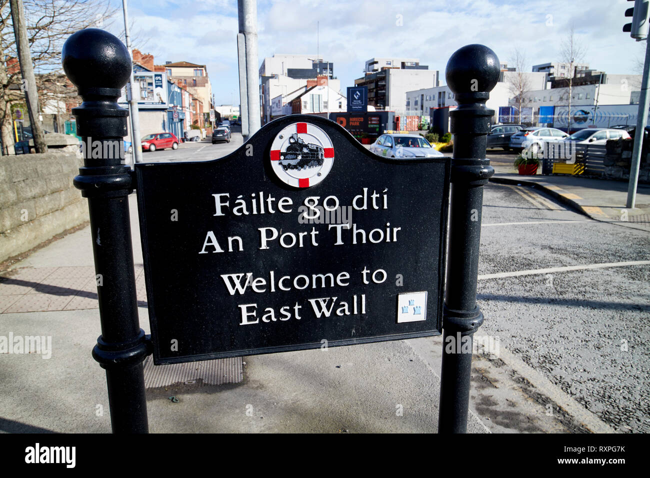 welcome to east wall roadsigns Dublin Republic of Ireland europe - Stock Image