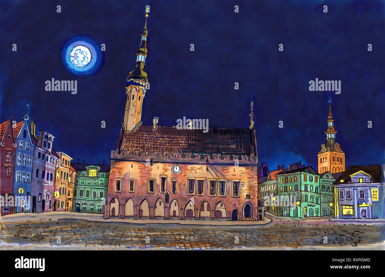 Town Hall Square in Tallinn Old Town at night. Historical architecture, St. Nicholas or Niguliste church, city lights, full moon. Baltic states Stock Photo