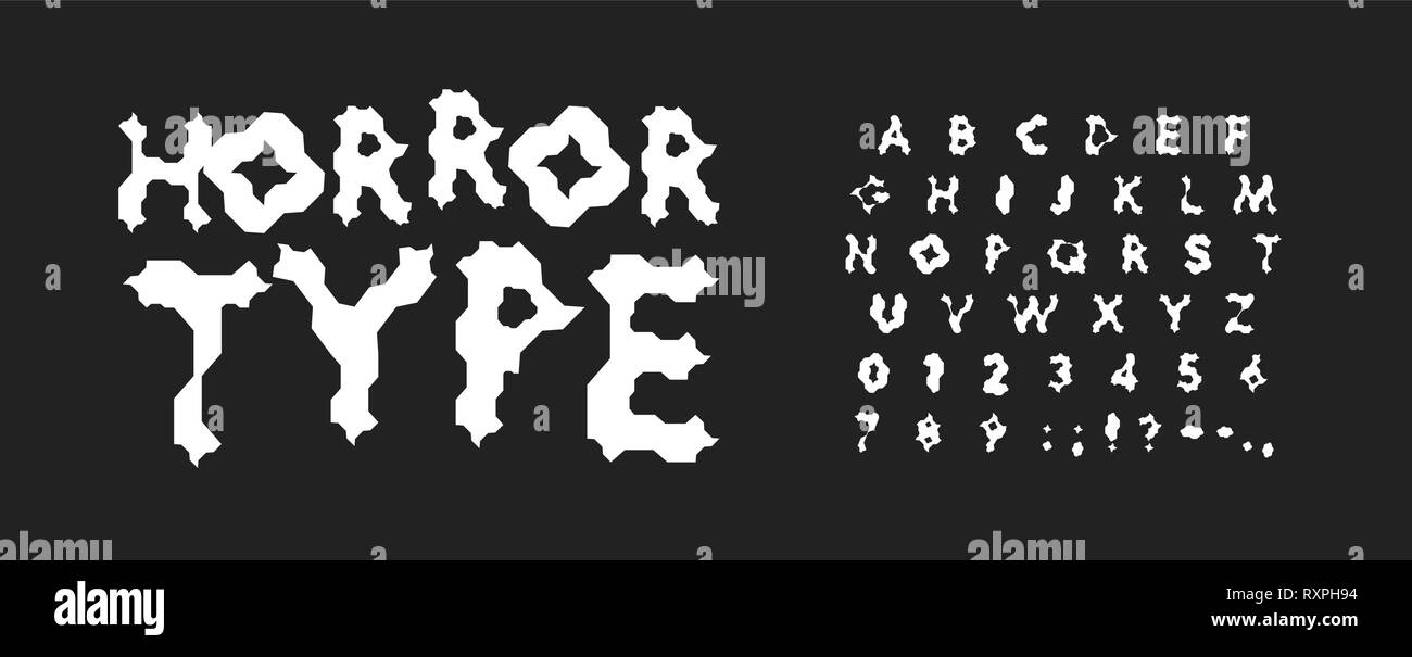 Horror letters and numbers set  Scary cartoon style vector latin