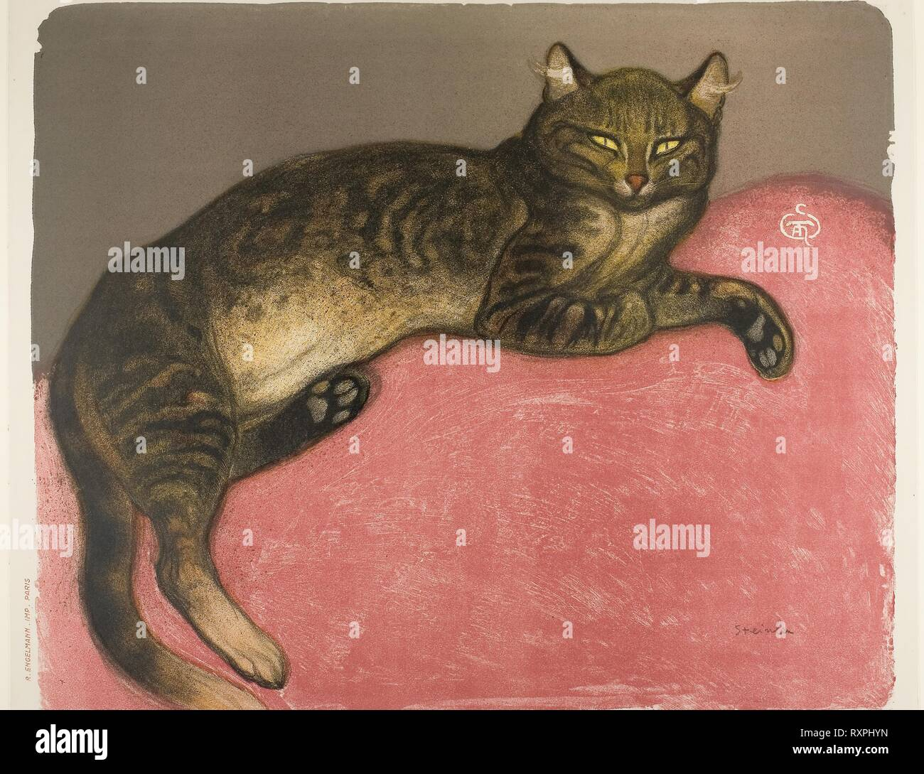Winter: Cat on a Cushion. Théophile-Alexandre Steinlen; French, born Switzerland, 1859-1923. Date: 1909. Dimensions: 494 × 589 mm (image); 503 × 621 mm (sheet). Lithograph in 6 colors (red, ochre, yellow, black, gray-brown, brown) from two stones, with scraping on stone, on ivory wove paper. Origin: France. Museum: The Chicago Art Institute. Author: Théophile-Alexandre Pierre Steinlen. - Stock Image