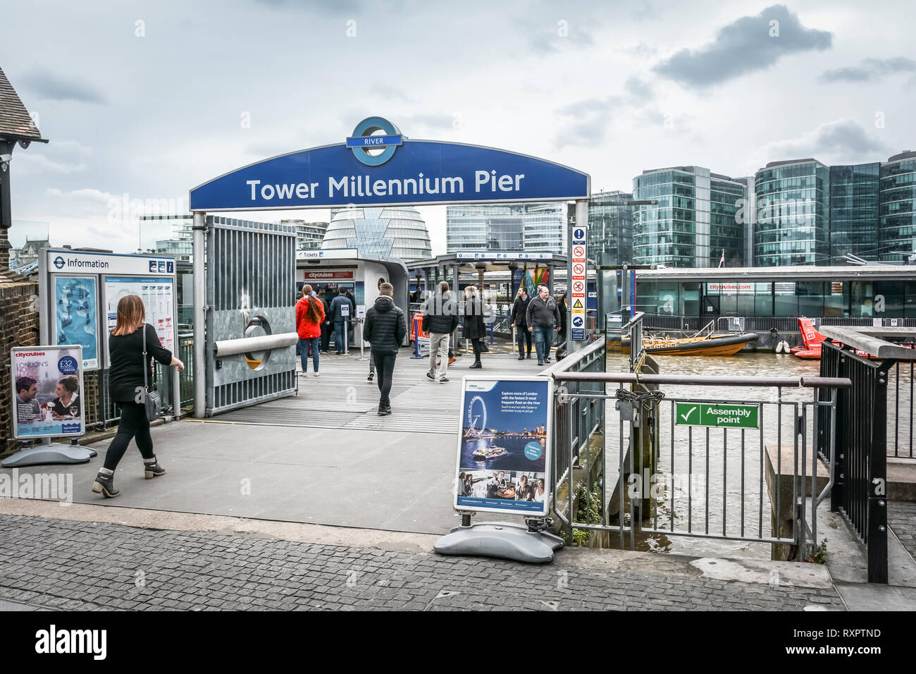 Tower Millennium Pier embarkation point, City of London, UK - Stock Image