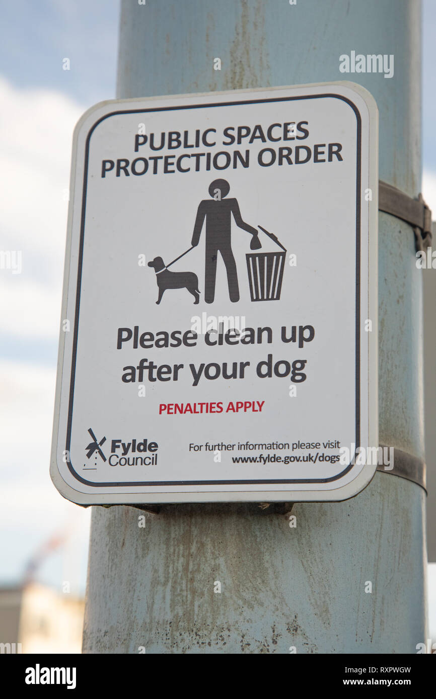 Small post-mounted sign indication a public spaces prevention order  with relation to dogs by Fylde Council St Annes on Sea February 2019 Stock Photo