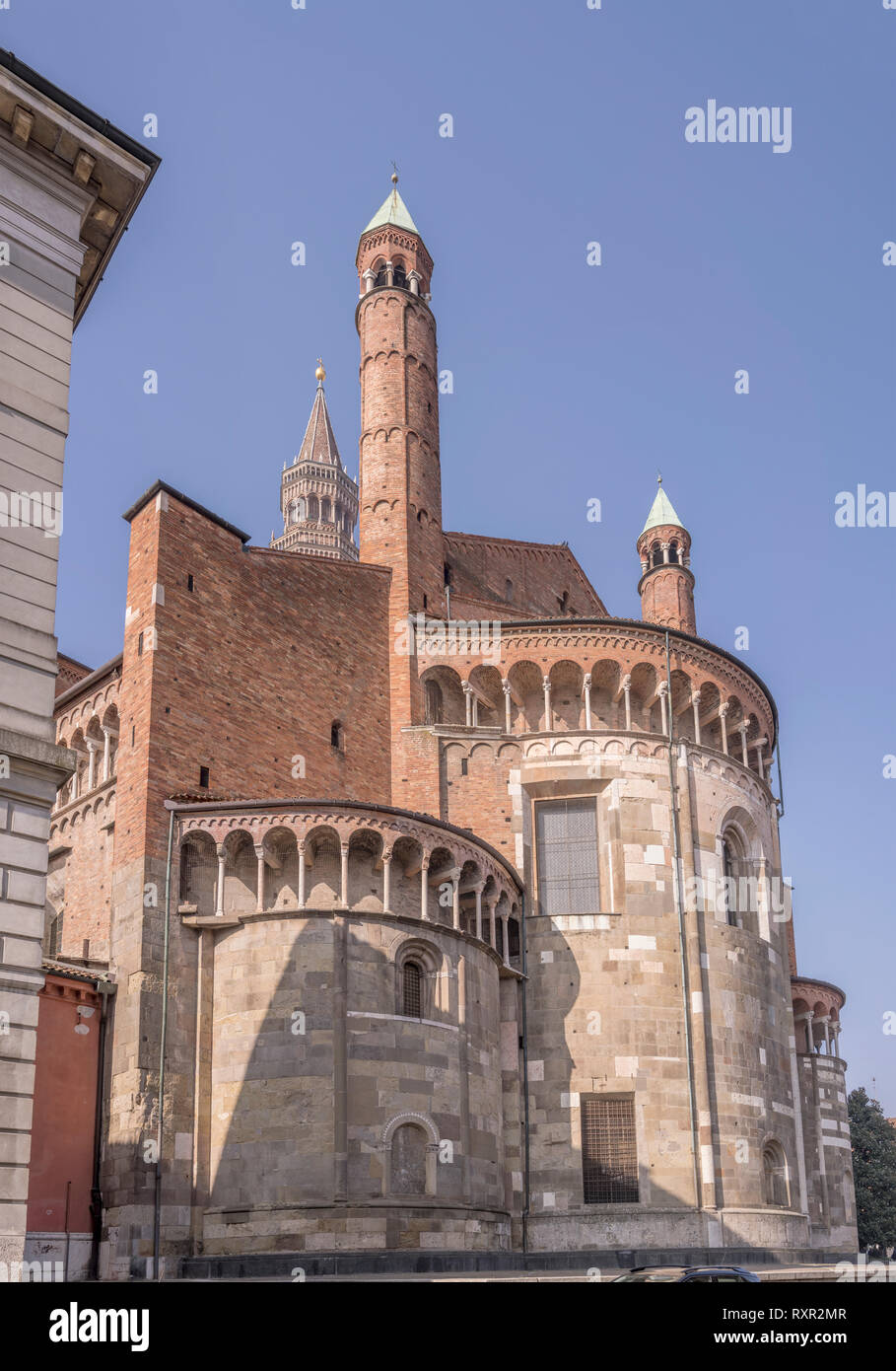 view of Romanseque Cathedral apse , shot in bright winter light at Cremona, Lombardy,  Italy - Stock Image