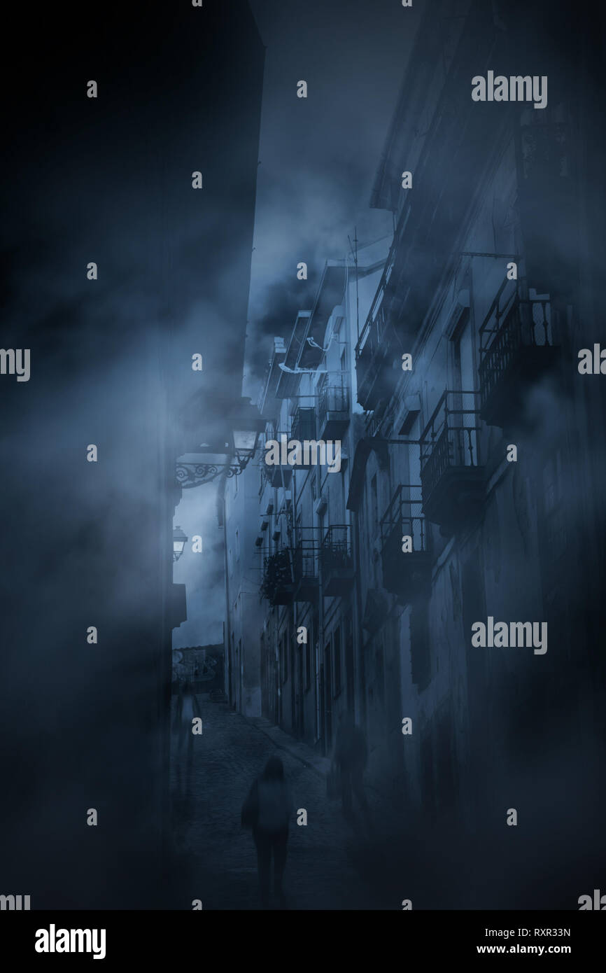 Diffuse entities walking in an old eurpean halley during twilight or night - Stock Image